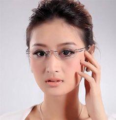 87f177395e Designer Womens Rimless Titanium Glasses Frames Eyeglasses Flexible Optical  Rx