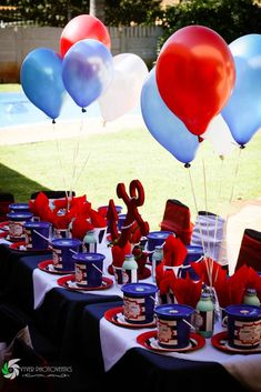 Decorated table at a nautical birthday party! See more party ideas at CatchMyParty.com!