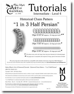 Chain Tutorial  1 in 3 HalfPersian Pattern  PDF by dylonwhyte, $10.00 Now available as an individual instant digital download on #Etsy or as part of the AOC Masters Course. http://www.artofchainmail.com #Chain #Chainmail #Chainmail #Mail #Maille #Tutorial #DylonWhyte #PDF #Instruction #Jewelry #Jewelery #Jewellery #Armor #Armour #Half #Persian #Pattern