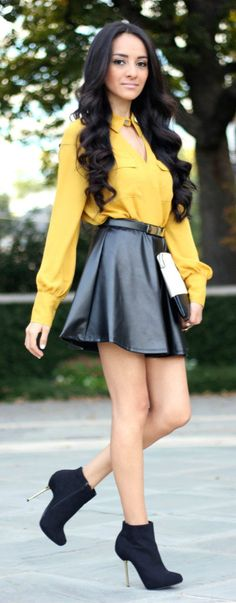 yellow blouse & leather skirt - love this leather is everything