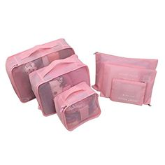 Hugesaving 6pcs travel Organizers Packing Cubes Luggage Organizers Compression Pouches Fabric Travel Storage Bag Pink * Read more reviews of the product by visiting the link on the image. (Note:Amazon affiliate link)