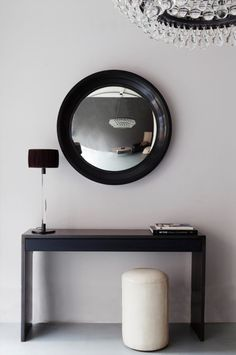View the convex mirror by OCHRE featuring a gesso and burnished bole frame with convex glass mirror. Part of the OCHRE mirrors collection. Convex Mirror, Cool Mirrors, Rear View Mirror, Contemporary Furniture, Wall Lights, Lighting, Living Room, Home Decor, Dressers