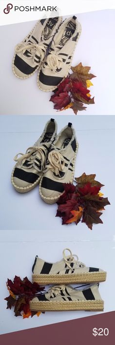 DV by Dolce Vita Espadrilles Platform DV by Dolce Vita cream and black striped hemp platform shoes with macrame around platform, new condition, never worn but have no tags.  Size 6. DV by Dolce Vita Shoes Espadrilles