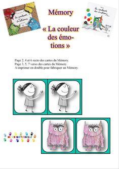 La couleur des émotions : Mémory   MC en maternelle Splat Le Chat, Social Emotional Learning, 5 Year Olds, Monster, Legos, Activities For Kids, Preschool, Animation, Memories