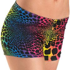 Rainbow Leopard Print Shorts - Balera - Product no longer available for purchase Leopard Print Shorts, Leopard Pants, Dance Shorts, Yoga Shorts, Spring Hairstyles, Ballroom Dress, Dark Beauty, Best Face Products, Dance Outfits
