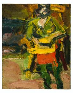 Frank Auerbach  B. 1931  J.Y.M. SEATED  Estimate: 200,000 - 300,000 GBP  oil on board  45.7 by 37.5cm.  18 by 14 3/4 in.  Executed in 1979.