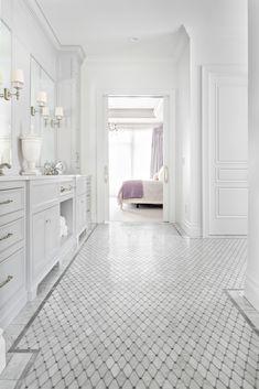 Portfolio - Christopher Scott Cabinetry & Design Marble Bathroom Floor, White Marble Bathrooms, White Master Bathroom, Modern Master Bathroom, Small Bathroom, Bathroom Gray, Bathroom Ideas, Bathroom Cost, Condo Bathroom