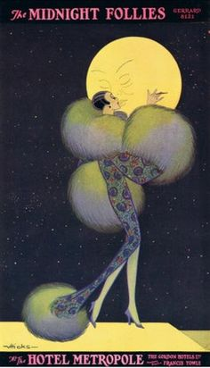Art Deco poster, the Midnight Follies, moon kiss Art Vintage, Poster Vintage, Vintage Ads, Vintage Moon, Belle Epoque, Art Nouveau Pintura, Art Quotidien, Pop Art, Art Deco Illustration