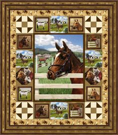 Want a pretty horse quilt that looks a bit vintage-ish? Horse Quilt, Horse Fabric, Western Quilts, Country Quilts, Fabric Panel Quilts, Lap Quilts, Fabric Panels, Quilting Projects, Quilting Designs