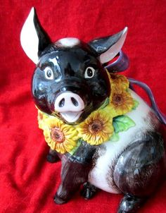 FITZ & FLOYD PIG COOKIE JAR SUNFLOWER NECKLACE PURPLE BOW PIGLET COOKIE JAR NEW Please RePinit and Thanks!