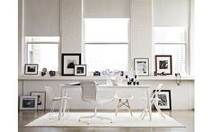 black + white office