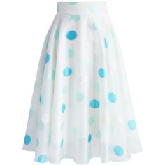 Chicwish Refreshing Dots Organza A-line Skirt (¥4,465) ❤ liked on Polyvore featuring skirts, white, chicwish skirt, white knee length skirt, dot skirt, white skirt and white polka dot skirt