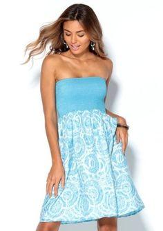 Šaty bez ramienok #ModinoSK #dress #blue #pastel