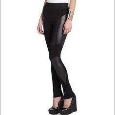 BCBG Faux Leather Panel Leggings New, never worn BCBGMaxAzria Pants Leggings