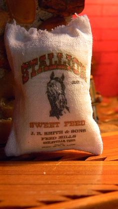 Stallion Horse Feed Sack - Dollhouse Miniature Sized - Authentic Reproduction. $3.50, via Etsy.