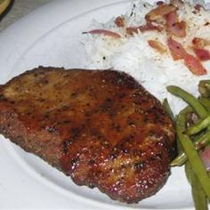maple-mustard glazed pork chops. personally, these are the best pork chops I've ever had.