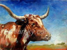 """Longhorn Steer """"The Cow that Won the West"""" Original oil on canvas by Stephen Filarsky of onroadartists!"""