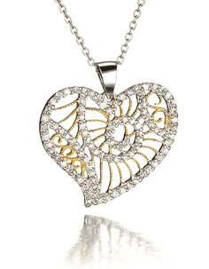 Two Tone Heart Necklace at Good Offers Online. Go to: http://www.good-offers-online.com/Necklace.html