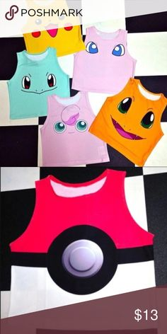 ⚡️Pokemon crop top!!!!⚡️ Pokemon crop top || Comes in any of the styles pictured above || sizes: S,M,L,XL || ships in 1-2 weeks because of the high demand!!! || $10 a piece || TAGS: Pokemon, Pokemon go, charmander, pikachu, squirtle, bulbasaur, jigglypuff || Pokemon Tops Crop Tops
