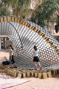 This can pavilion was made during the Bat-Yam International Biennale o. - This can pavilion was made during the Bat-Yam International Biennale of landscape urbanis - Pavilion Architecture, Organic Architecture, Architecture Design, Architecture Definition, Landscape And Urbanism, Landscape Design, Landscape Diagram, Recycle Cans, Upcycle