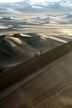 Paul Atreides and some fremen walk single file to avoid attracting sand worms.
