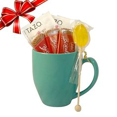 Cottage Lane Hot Tea Mug Gift Set Featuring Tazo Tea Honey Spoon Stirrer  a Biscoff Butter Cookie Green Ginger Tea Teal Mug >>> Visit the affiliate link Amazon.com on image for more details.