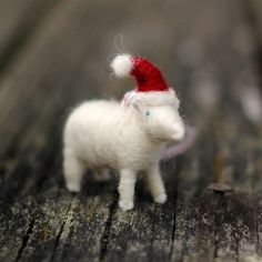 Santa Lamb  Needle Felted Christmas Ornament by BossysFeltworks