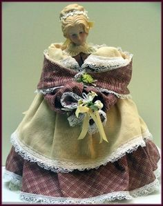 Mehitable Handmade Victorian Lady Cloth and Procelain Head Art Doll by Linda Walsh