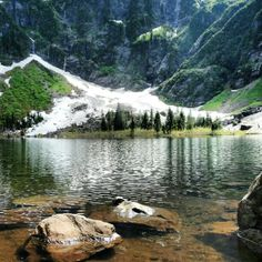 Heather Lake - in Mount Baker-Snoqualmie National Forest. Good for kids. At about 1 mile there are twin waterfalls - a great spot to turn around if hiking with small children.