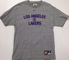 Vintage LOS ANGELES NBA LAKERS Gray t-shirt Mens Medium M Med  61 Team d9924dbc4