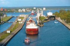 Marie Ontario directly across from Sault Ste. Marie, Michigan Photo showing the Soo Locks where lake freighters cross from Lake Huron into Lake Superior and vice versa! Michigan Travel, State Of Michigan, Northern Michigan, Lake Michigan, Michigan Facts, Sault Ste Marie Michigan, Great Lakes Ships, Lake Huron, Port Huron