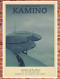 Retro Travel Poster Star Wars Kamino by TeacupPiranha