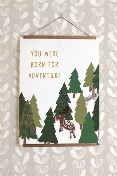 Born for Adventure Print - Forest Gender Neutral Bedrooms, Nursery Neutral, Neutral Nurseries, Forest Nursery, Woodland Nursery Decor, Animal Nursery, Girl Nursery, Elephant Nursery, Forest Theme Bedrooms