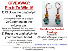 GIVEAWAY - Pin It To Win It: To Win This Item from CloudNineDesigns.etsy.com - follow the instructions: Click on ORIGINAL pin, comment leaving a way to contact you, REPIN the ORIGINAL Pin! Contest ends 7/26/12 @ 11:59pm EST. Winner announced 7/27/12.