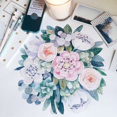 Blush pink and white floral painting with teal, forest and light green foliage