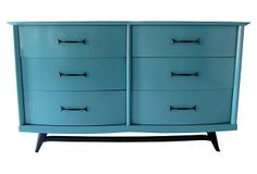 Bow-front Mid-Century Modern chest with six drawers and black pulls on stylish legs. Professionally lacquered in high-gloss turquoise.