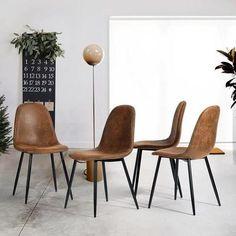 Lot de 4 Chaises de Salle à Manger Chaises de Cuisine Chaises Scandinaves Vintage en PU cuir Marron - Achat / Vente chaise Marron - Soldes* dès le 10 janvier Cdiscount