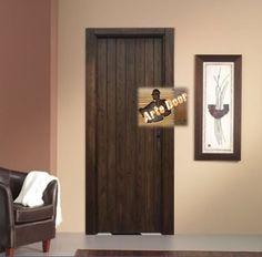 Puerta interior castellana acabado en nogal oscuro for Puerta castellana pino