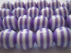 50 Light Purple Striped 10mm Resin Beads   (1110)