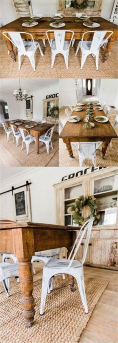 White farmhouse Metal Chairs Dining Room Decor by Liz Marie Blog - Farmhouse dining room #DiningChair #ReadingChair