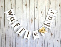 Waffle Bar Sign with Crumbs / Banner / Brunch / by WootandWooks