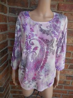 CHICO'S Paisley Top Size 3 XL 16/18 Embellished Scoop Neck Polyester 3/4 Sleeve #Chicos #Blouse #Casual