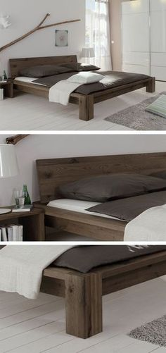 Solid wooden bed made of brushed wild oak. Oiled in three different colors … – Home Decor - Schlafzimmer Bedroom Furniture, Home Furniture, Furniture Design, Bedroom Decor, Wood Bedroom, Bed Frame Design, Diy Bed Frame, Wooden Bed Frame Diy, Easy Frame