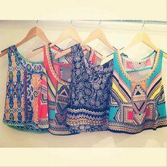 Pretty crop tops | #aztec #colors #croptop #fashion