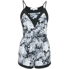 **Floral Playsuit by Oh My Love (€40) ❤ liked on Polyvore featuring jumpsuits, rompers, playsuits, dresses, one piece, grey, jump suit, floral rompers, floral romper jumpsuit and gray jumpsuits