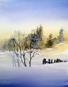 What do you need to do in order to come up with a landscape that impresses your friends and family? This piece provides some answers to those thorny dilemmas and some ideas about keeping your desig Watercolor Landscape Paintings, Watercolor Trees, Oil Painting Abstract, Abstract Landscape, Watercolor Artists, Painting Art, Painting Snow, Winter Art, Winter Landscape