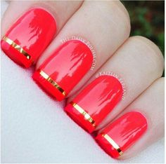 Image via Red nails gold accents Image via Pretty Short Nail Designs For Spring and it's Nerium colors Image via Simple Nail Art Designs for Short Nails Image via fun summ Nail Art Designs, Striped Nail Designs, Short Nail Designs, Simple Nail Designs, Nails Design, Love Nails, How To Do Nails, Pretty Nails, Chic Nails