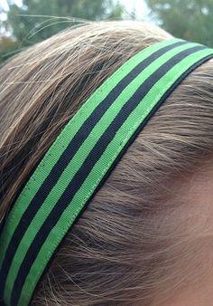 One Up Green with Black Stripes Non Slip Headband