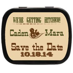 Hitched Personalized Save the Date Mint Tins - Great for Barn or Country Engagement Engagement Favors, Edible Favors, Mint Tins, Personalized Party Favors, Country Engagement, Country Chic, Save The Date, Wedding Favors, Rustic Wedding