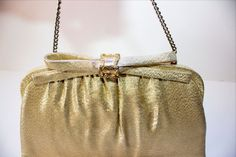 VTG After Five GOLD Shiny Fabric EVENING BAG CLUTCH Purse HAND BAG w/ Coin Purse #AfterFive #EveningBag
